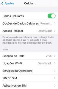 dados móveis não funcionam